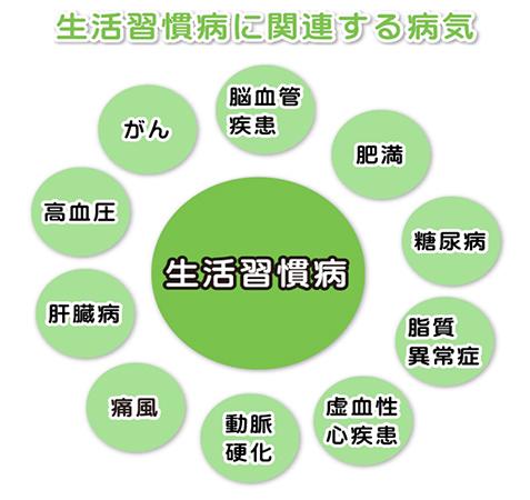 画像:生活習慣病に関連する病気